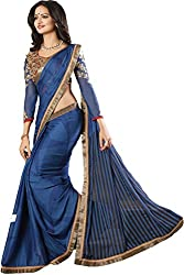 Ambica women faux chiffon digital print saree(Amb-4202_blue_Freesize)