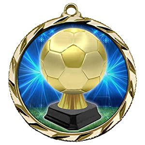 Bright Edge Gold - Silver - Bronze Soccer Trophy Medals with Red-White-Blue Ribbon. (FLAT $5.49 Shipping any Qty)