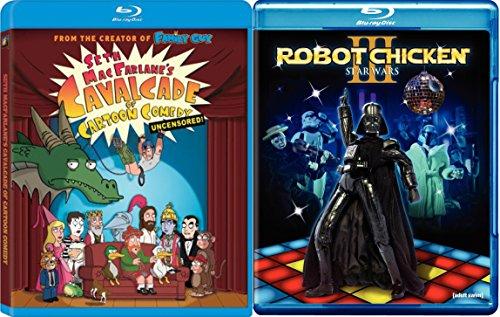 Robot Chicken: Star Wars Episode III + Seth MacFarlane's Cavalcade of Cartoon Comedy: Uncensored! Blu Ray Set 2 Movies