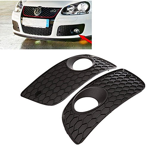 BACAI 1Pair Black Front Bumper Fog Lamp Lights Grill Grille For VW GOLF MK5 GTI ABS Mesh Grilles (Vw Golf Mk5 Fog Lights compare prices)
