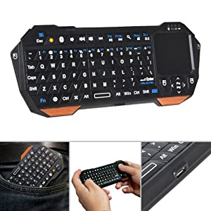 Fosmon® Portable Lightweight Mini Wireless Bluetooth Keyboard Controller (QWERTY keypad) with Built-In Touchpad for Apple iOS / Android / Windows Smartphones, Tablets, PS3 / PS4, Laptop, Notebook and others (Black & Orange)