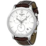 Tissot T0636171603700 Tradition Men's Chrono Quartz Silver Dial Watch with Brown Leather Strap (Color: Silver)