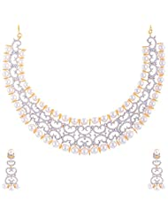 New Amrit Jewellers Gold Plated 1 Gram CZ Stones Necklace For Women - B00QX3ATHC