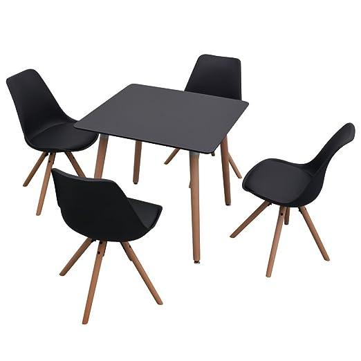 vidaXL 5-tlg. Essgruppe Tischset Esszimmer Stuhle Sitzgruppe Esstischset Schwarz