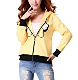 RedExtend Women's Adventure Times Yellow 3d Print Zip-Up Hoodie Sweatshirt