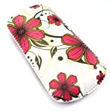 Emartbuy® Pink Hawaiian Flowers Premium PU Leather Pouch / Case / Sleeve / Holder ( Size X-Small ) With Pull Tab Mechanism Suitable For Nokia 1600