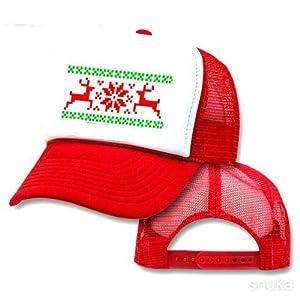 Reindeer Snowflake Mesh Trucker Hat Cap Ugly Sweater Christmas X Mas