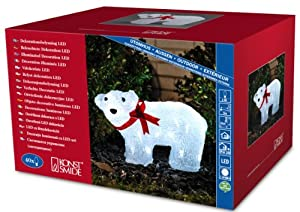 Konstsmide Polar Bear with a Red Ribbon with 40 LEDs, Ice White