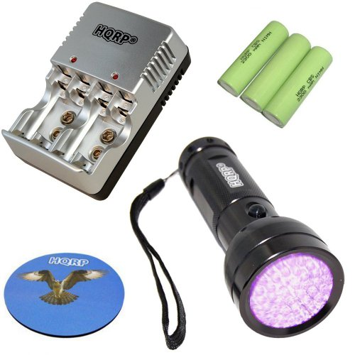 Hqrp Set: 390 Nm 51 Led Professional Uv Ultraviolet Inspection Detection Identification Flashlight Blacklight Plus 3Pcs Extra High Capacity Rechargeable Ni-Mh Aa Battery 2300 Mah Plus Hqrp Universal Aa/Aaa/9V Battery Charger Plus Hqrp Coaster