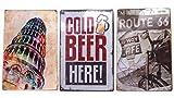 BASE GEAR(ベースギア) メタルプレート アンティーク アメリカン ブリキ 看板 セット オールドアメリカン ヴィンテージ レトロ ガレージ カフェ バー レストラン (3点セットA)