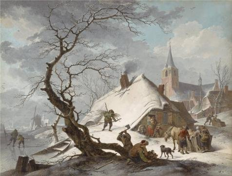 High Quality Polyster Canvas ,the Amazing Art Decorative Canvas Prints Of Oil Painting 'A Winter Scene, 1787 By Hendrik Meyer', 12x16 Inch / 30x40 Cm Is Best For Gym Gallery Art And Home Decoration And Gifts