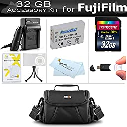 32GB Accessories Kit For Fuji Fujifilm X70, X30, X100, X100S, X100T Digital Camera Includes 32GB High Speed SD Memory Card + Extended Replacement (1800maH) For Fuji NP-95 Battery + Charger + Case + More