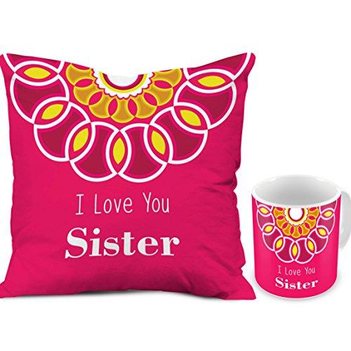 Rakhi Rakshabandhan Gift For Sister Sis Behan Combo Set I Love You Pink Printed 12X12 Cushion With Filler Best Quality Ceramic Mug Perfect On