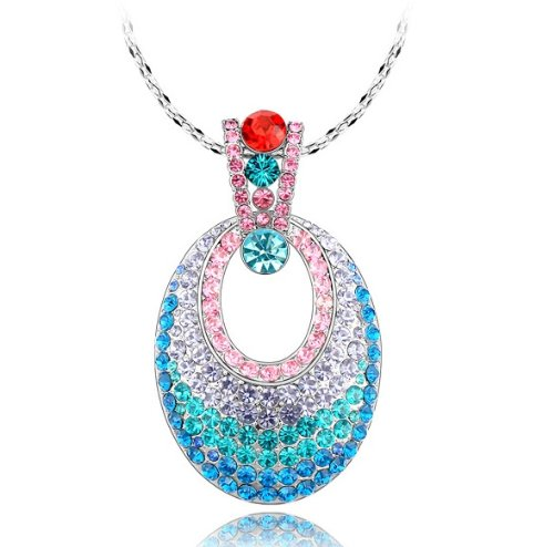 Purplelan-Fashion Jewlery Studded With Swarovski Element Colorful Crystal Stones Necklace 9669