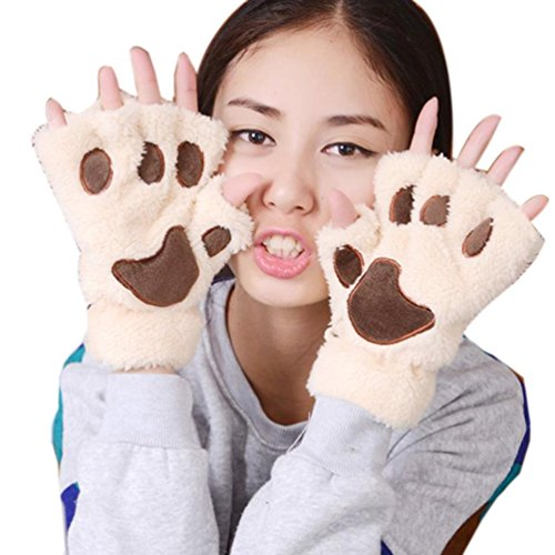 Zeagoo Women's Costume Cat Paws Fingerless Gloves