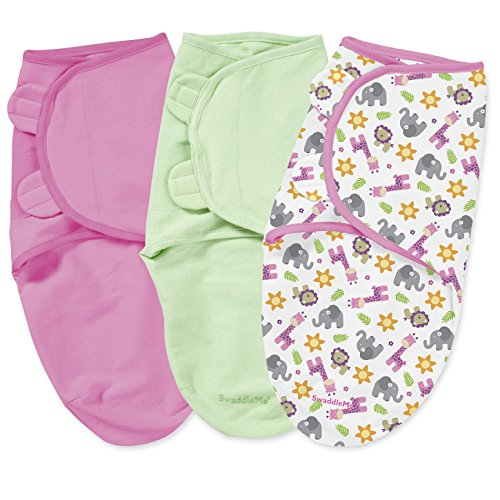 Summer Infant 3 Piece SwaddleMe Adjustable Infant Wrap, Pink Safari, Small/Medium - 1