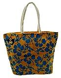 Neska Moda Swachh Bharat Women's Floral Yellow Light Blue Jute Bag Shoulder Bag - Made In INDIA