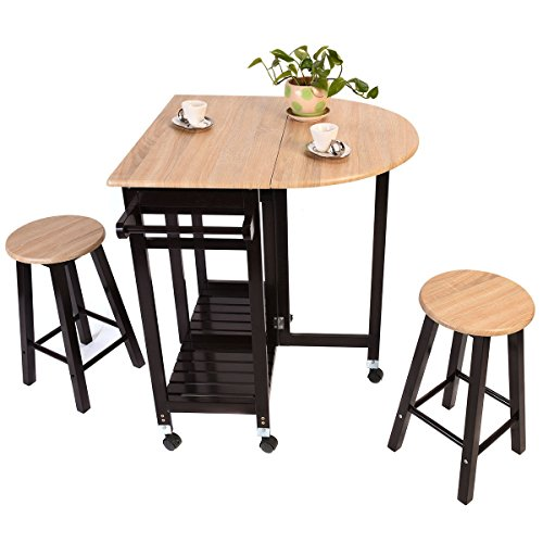 Wood Kitchen Rolling Casters Fold Table Drop