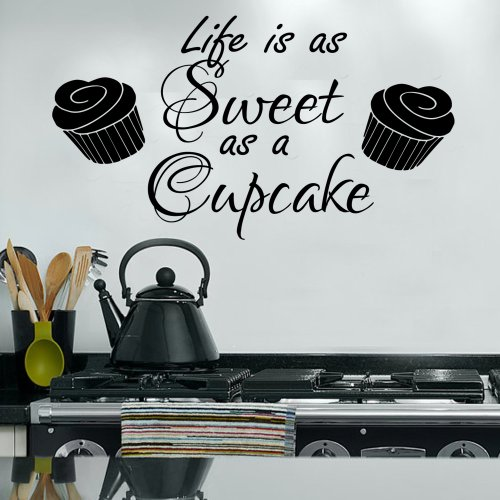 Life Is As Sweet As A Cupcake Kitchen Home Girls Wall Sticker Bedroom Vinyl Art 100X55 (Black) front-707379