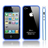 Two Tone TPU Bumper Case Cover With Silver Buttons And Front/Back Screen Guard (White/Blue) For Apple iPhone 4 / 4S - Blue