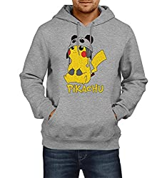 Fanideaz Men's Cotton Cute Pikachu Pokemon Hoodies For Men (Premium Sweatshirt)_Grey Melange_XL