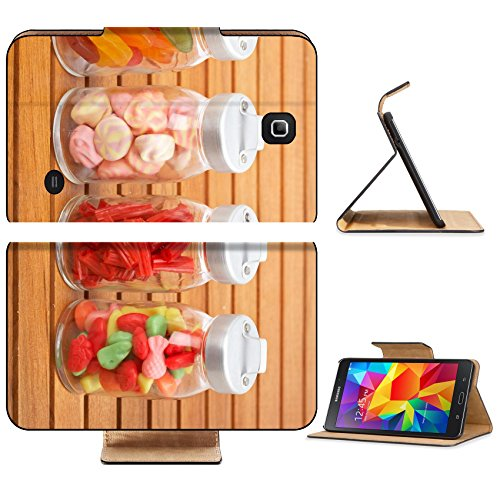 Liili Premium Samsung Galaxy Tab 4 7.0 Inch Flip Pu Leather Wallet Case IMAGE ID: 4268077 Assortment of glass jars with marshmallows candies and red licorice on wooden background Shallow depth of fiel (Candy Jar Executive compare prices)