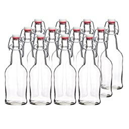 California Basics Home Brewing 16 oz Glass Bottles with EZ Caps for Beer, Vinegar & Oils, Kombucha, Clear, Reusable (Set of 12)