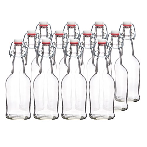 California Home Goods 16 Ounce Glass Brewing Bottles with EZ Caps for Beer, Kombucha, Clear, Reusable (Set of 12) (Glass Bottle Bail Lid compare prices)