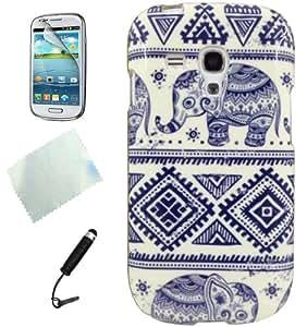 D'amelie TPU Schutzhülle für Samsung Galaxy S3 Mini I8190 I8200 Elefant (Stylus, Displayschutzfolie,Reinigungstuch)