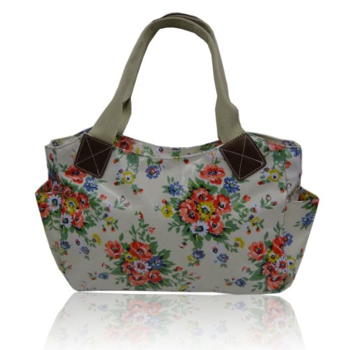 Gossip Girl - Floral Flower Oilcloth Day Bucket Bag Tote Handbag - CREAM
