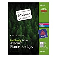 EcoFriendly Name Badge Labels, 2-1/3 x 3-3/8, White, 80/Pack