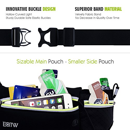 Riñonera running,EOTW Cinturones de Hidratación para iPhone 6s/6/6plus, Samsung S6/5/4/3,un Bolsillo botella de agua y dos Bolsillo con cremallera ,tres metros Bandas reflectantes (Length 94-150cm)