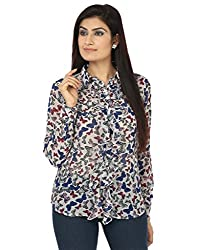 Coash Women Butterfly Print Women White & Blue Top