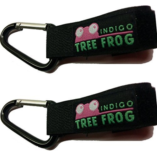 Stroller Hook Clips by Indigo Tree Frog - 2-Pack of Versatile Stroller Hook Clips For bags and diaper bags - Metal so guaranteed to last better than cheaper plastic clips - Carabiner style stroller hook clip lock to aid security to your attached items - Best new design that attaches to more brands of buggy (wheelchair, pushchair, purse or pram) - We operate a free lifetime replacement guarantee on all our products! - 1