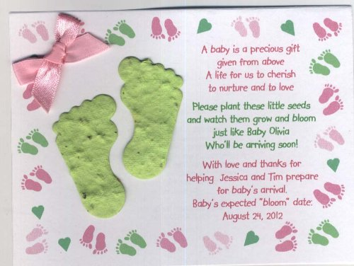 Plantable Lime- Pink Baby Feet Favor