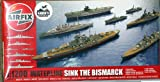 Airfix 1/1200 Sink the Bismarck! Waterline Battleships