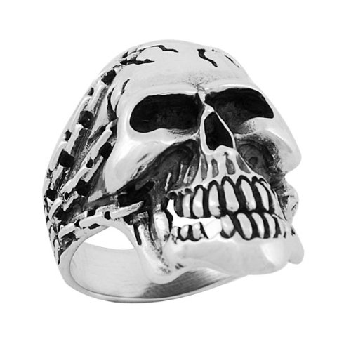 Sterling Silver Skull Ring w/ Chains size11
