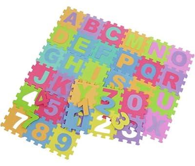 Ardisle 36pcs Soft EVA Foam Baby Children Kids Play Mat Alphabet Number Puzzle Jigsaw Actvity Foam Soft Padded