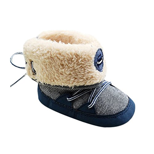 Weixinbuy Baby Boy Lace Up Stripe Soft Bottom Winter Snow Boots L