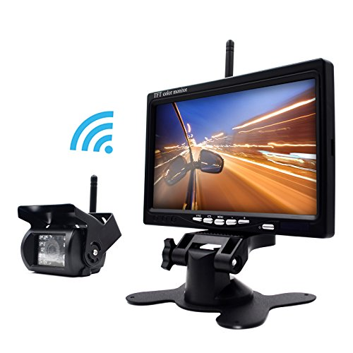 eRapta Wireless 7 Inch Waterproof Backup Camera And Monitor Kits For Semi-Trailer/Box Truck/RV/Motorcoach/5th Wheel/Trailer/Bus PAL And NTSC High Solution Rearview Camera