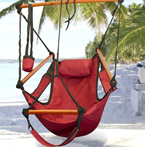 Hammock-This is the hammock chair-patio furniture-Color Red-Durable long lasting weather resistant construction-Swing holds up to 250 lbs-Perfect for indoor or outdoor use-100% Thrilled Customer Guarantee!