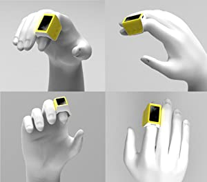 RMING 3D Portable Smart Wearable Finger Ring Mouse Bluetooth 4.0 Wireless Human Sensor 3D Finger Ring Mouse - Remote Control (White) (Color: White)