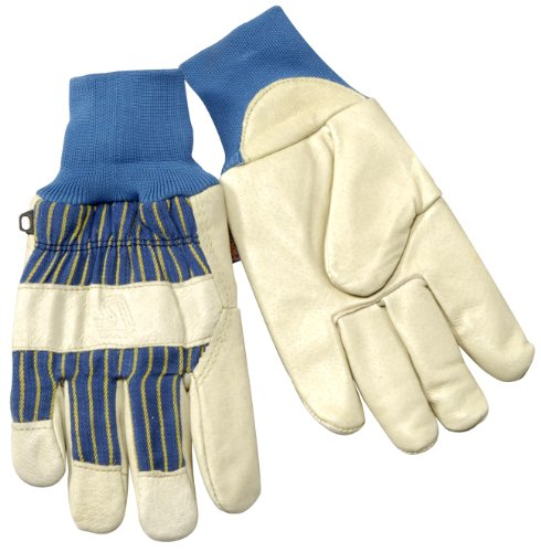 Steiner P2479 Winter Work Gloves, Grain Pigskin Palm, Heatloc Lined Knit Wrist Cuff, Large (White)