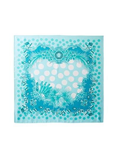 Versace Women's Polka Dot Silk Scarf, Aqua/Teal