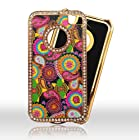 Multi Pasley with Golden Chrome Diamond Bling Apple Iphon 4, 4S at&t. Verizon, Sprint, C Spire Case Cover Hard Phone case Snap-on Cover Rubberized Touch Faceplates