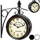 Horloge de gare noire à double sens - Horloge murale - Horloge retro - Horloge deux heures différentes - Heure gare