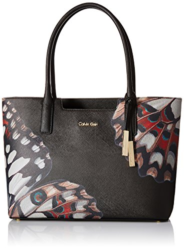 Image of Calvin Klein Saffiano Butterfly Abstract Tote, Black