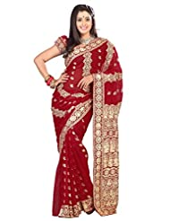 Designer Amazing Maroon Colored Embroidered Faux Georgette Saree By Triveni