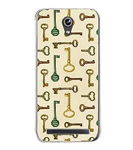 Keys Pattern 2D Hard Polycarbonate Designer Back Case Cover for Asus Zenfone Go ZC500TG (5 Inches)