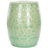 Lime Green Ceramic Lotus Patio Stool